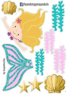 Under the sea cake toppers Sea creatures printable topper Nautical cupcake toppers Sea animals baby birthday Under the sea party - DIGITAL Mermaid Diy, Cute Mermaid, Mermaid Cakes, Mermaid Party Decorations, Birthday Party Decorations, Little Girl Birthday, Baby Birthday, Cake Templates, Under The Sea Party