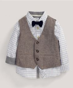 Three Piece Tweed Waistcoat, Shirt and Bow Tie Set