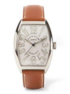 FRANCK MULLER Men's Leather Strap White Face Watch