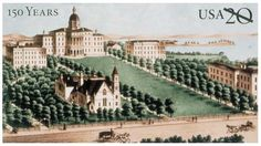 In 1999, the University of Wisconsin-Madison was featured on a stamped postal card, with a reproduction of a portion of an 1879 lithographic print of the university's Bascom Hall.