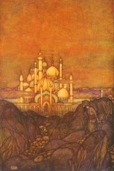 """Illustration by Edmund Dulac. """"City of Brass - Stories from the Arabian Nights,"""" 1907."""