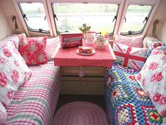 "Previous pinner said: ""OMG... a Cath Kidston camper--err, caravan, complete with Union Jack pillow!"" And I adore it and would love to personalise our own touring caravan with personal furnishings!"