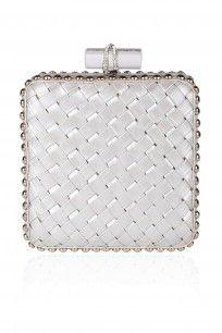 Silver Checkered Woven Square Box Clutch #perniaspopupshop #jasbirgill #happyshopping #clothing #fashion