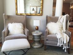 Alice Lane Home Collection   Gray wingback chairs