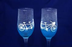 Hand painted wedding glasses with bikes and a subtle gradient.