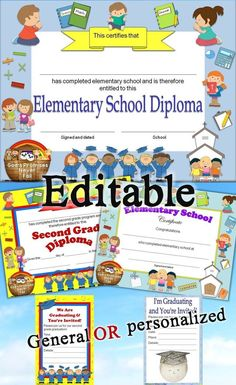 Editable Christian grade level diplomas & certificates, elementary school diplomas & certificates, graduation invitations, and end of the school year celebration announcements for grades 1-6 with religious images. Customize the grade level or use the elementary school option. 3 designs, general and personalized invitations & announcements, color and no color backgrounds.
