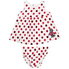 NC State Wolfpack Infant Polka Dot Sun Dress – White