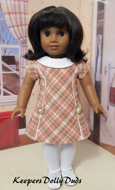 "https://flic.kr/p/M7CtBD | 1960's wide collar Dress | A 1960s style revised version of the upcoming KeepersDollyDuds Simplicity pattern to be released late in 2016 or early 2017. Made to fit 18"" dolls such as American Girl Doll Melody."