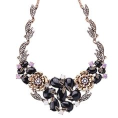 New Arrival Luxury Brand Vintage Alloy Black Acrylic Flower Statement Choker Necklace For Women Fashion Jewelry Wholesale