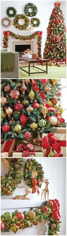 Tonos dorados, rojos y verde, clásicos, para decorar el Árbol de Navidad. #ArbolesDeNavidad