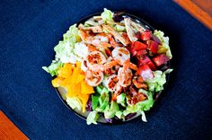 Mango salad with shrimp, avocado, bacon, feta... there are other ingredients but right there are 4 of my favorite ingredients so I had to pin :-)