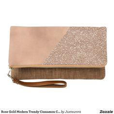 Rose Gold Modern Trendy Cinnamon Clutch