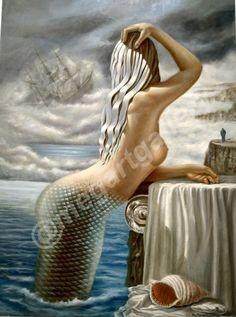 Artist: Minaritzoglou Mihalis Title: Mermaid 160x120 oil painting 9000euros Oil On Canvas, Greek, Mermaid, Euro, Gallery, Artist, Facebook, Sea, Painting