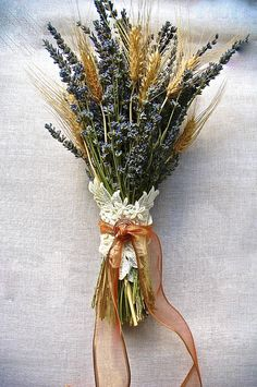 Double Brides Bouquet of Lavender and Wheat wrapped with Lace Applique, Copper Spiral and Copper Ribbon ooooooooohhhhhh pretty and works in the orange. looks better than the rose. Wheat Wedding Bouquets, Bride Bouquets, Bridesmaid Bouquet, Wedding Flowers, Bridesmaids, Hand Bouquet, Rose Bouquet, Fall Wedding, Rustic Wedding
