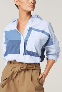Statement shirting is a thing for spring, and we adore this denim-inspired colourblock shirt!