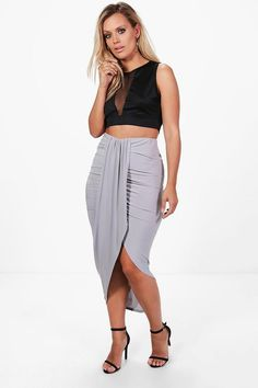 Plus Renee Ruched Wrap Front Maxi Skirt