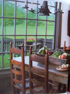 Farm house style table with ladder back chairs