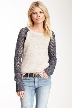 Metal Trim Two-Tone Sweater <3
