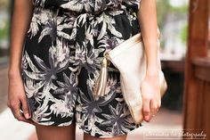 Tropical black romper, gold lilly pulitzer clutch, black floppy hat, nude ankle strap wedges | Summer outfit 2015 | Pressing Flowers Blog| Alexandra Lee Photography