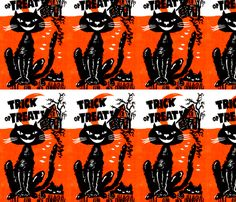 vintage retro kitsch halloween black cats crescent moon haunted houses trick or treat  fabric by raveneve on Spoonflower - custom fabric