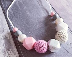 Silicone Teething Necklace, Nursing Necklace 'Kate' Pink / White New Mum Gift, Baby Gift, Teether, Fiddle Beads, Teething, Breastfeeding