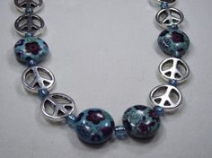 Peace and Flower Beads 25in by IroquoisDreams on Etsy