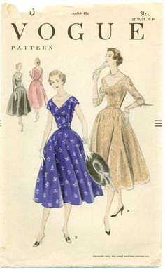 Vogue 8530 - 1950s V-Neck Scalloped Neck Dress with Full Skirt : Vintage Sewing Patterns | Free Worldwide Shipping |Out-of-print, Discontinued, Retro, and Contemporary, Vintage Sewing Patterns and More