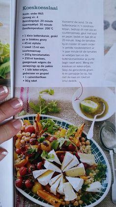 Koeskoesslaai, Tuis Tydskrif Water Recipes, New Recipes, Salad Recipes, Dessert Recipes, Cooking Recipes, Desserts, Vegetarian Recipes Tofu, Vegetable Recipes, South African Recipes