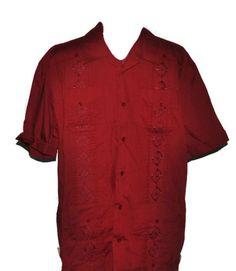 THE HAVANERA CO. Casual Embroidered Shirt Large Mens Red Cuban Wedding Shirt #Cubanweddingshirt #havanera #festiveshirt