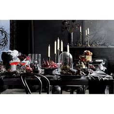 Crate and Barrel's Halloween Decor is Every Goth Lovers Dream Halloween Dessert Table, Scary Halloween Decorations, Halloween Desserts, Halloween Themes, Halloween Centerpieces, Chic Halloween, Halloween Queen, Halloween Town, Halloween Sounds