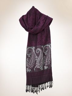 Purple Woven Stole  in  Paisely Black and Silver