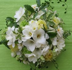 white & green early spring bridal bouquet