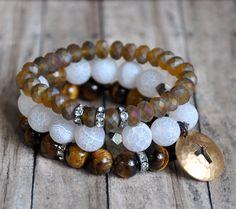 autumn set of stacked bracelets