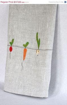 ON SALE Linen Tea Towel, Hand Appliqued, Garden Vegetable Trio on Natural Linen. $15.30, via Etsy.