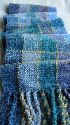Handwoven Chenille Scarf by barefootweaver on Etsy Pin Weaving, Weaving Art, Weaving Patterns, Loom Weaving, Fibre And Fabric, Woven Scarves, Textile Fiber Art, Weaving Projects, Loom Knitting