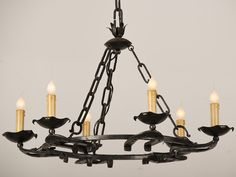 A terrific six light iron chandelier with horse shoes affixed to the base from France c. Hold Fast, Horse Shoes, Iron Chandeliers, Projects To Try, Base, Ceiling Lights, France, Dreams, Lighting