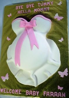 Pregnant Belly Baby Shower Cake in Pink Butterflies Farrah 2