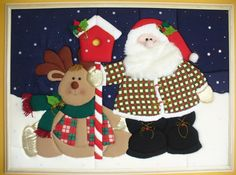 Noel y venado | Taller y Manualidades Margarita Snowman Quilt, Christmas Crafts, Christmas Ornaments, Patchwork Patterns, Quilted Wall Hangings, Xmas Decorations, Pottery Barn, Vintage Christmas, Merry