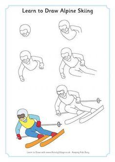 Learn to Draw Alpine Skiing