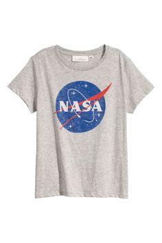 T-shirt med tryck - Ljusgrå/Nasa - DAM | H&M SE 1