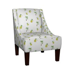 Venda Sloped Arm Chair featuring Pineapple Palm by drapestudio   Roostery Home Decor