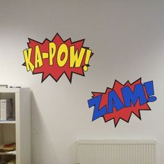 3 Comic Sound Effects Wall Decals Boom Zam KaPow by WilsonGraphics. $30.00, via Etsy.