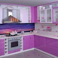 Purple kitchen works here Kitchen Interior, Kitchen Cupboard Designs, Kitchen Models, Kitchen Remodel Small, Kitchen Room Design, Kitchen Furniture Design, Cupboard Design, Kitchen Design, Purple Kitchen