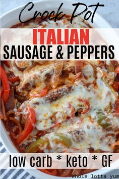 Crockpot Sausage and Peppers (Low Carb, Keto) Low carb keto sausage and peppers in your crock pot that makes the BEST keto dinner recipe! You'll love these saucy and cheesy slow cooker Italian sausages. Crock Pot Recipes, Keto Crockpot Recipes, Slow Cooker Recipes, Cheese Recipes, Crockpot Recipes Gluten Free, Crock Pot Healthy, Crock Pot Dinners, Sausage Crockpot Recipes, Best Keto Meals