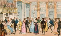"""Almack's Assembly Room painting by I.Robert and George Cruikshank entitled """"Highest Life in London Tom and Jerry Sporting a Toe among the Corinthians at Almack's in the West."""""""