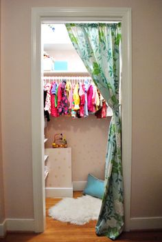 M OR A'S BEDROOM: make over your closet with a fun painted pattern or wallpaper + seating nook + fun privacy curtain (which also hides mess)
