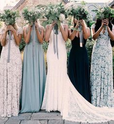 Wedding Trends Loving this color scheme of Mix Match Bridesmaids, Different Bridesmaid Dresses, Wedding Bridesmaids, Wedding Dresses, Bridesmaid Ideas, Blue Bridesmaids, Patterned Bridesmaid Dresses, Bridesmaid Gifts, Formal Dresses