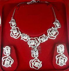 10.00 ct Natural Diamond 14k gold Necklace Set