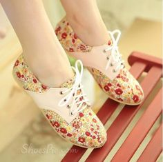 New Sweet Pastoral Flower-Print Flat Shoes