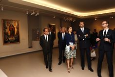 LR King Felipe of Spain and Queen Letizia of Spain attend the Velasquez painting exhibition at the Grand Palais on June 2 2015 in Paris France